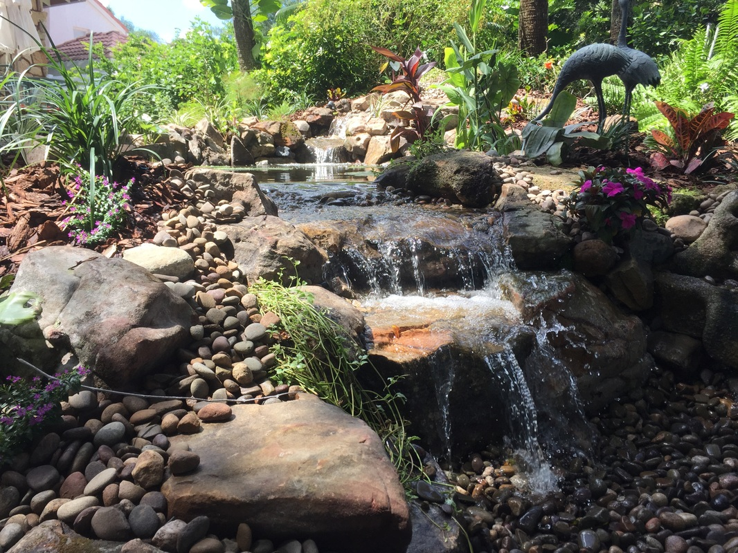 Pond waterfall contractor builder deland daytona orlando florida for How to water a garden